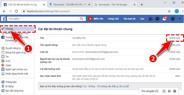 Đổi tên FB trên máy tính